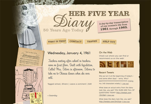 Her Five Year Diary Web Site